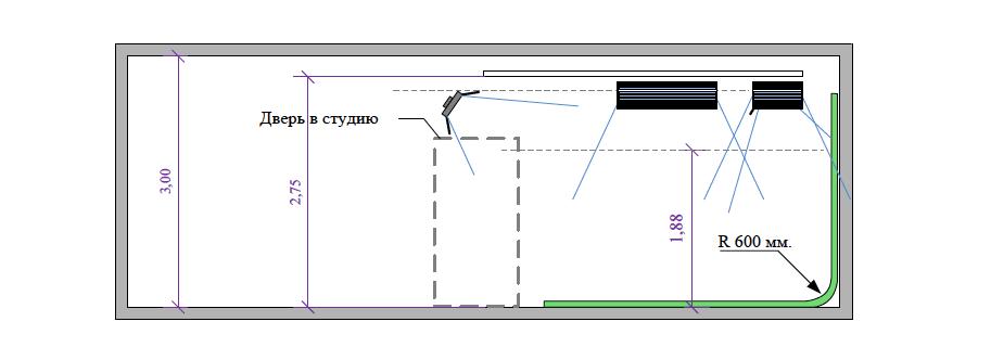 Проект хромакей-студии для съемки программ, вид сбоку