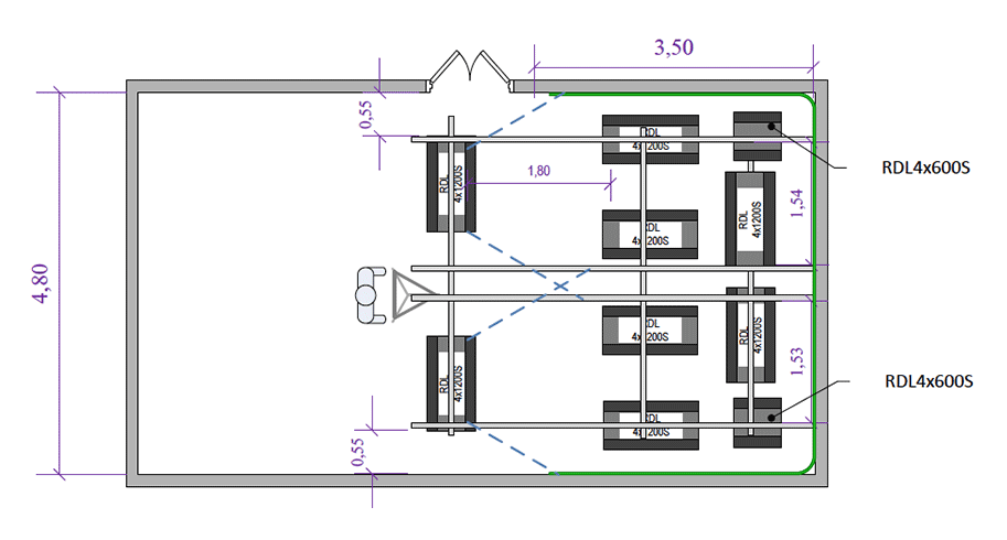 Проект хромакей-студии для производства телевизионных программ, вид сверху
